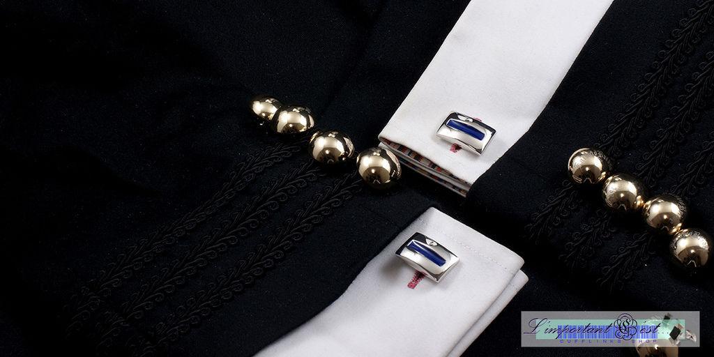 弧面藍色琺朗袖扣