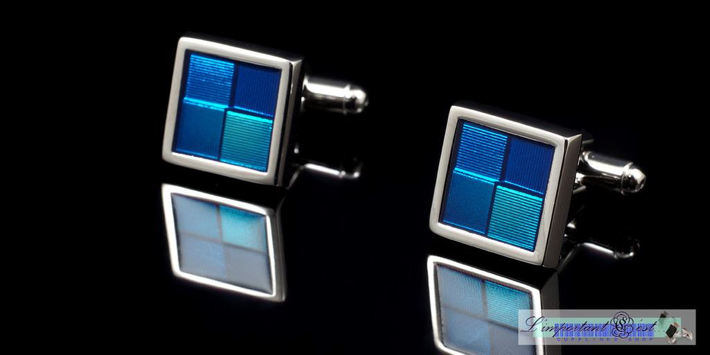 藍色琺瑯格紋袖扣