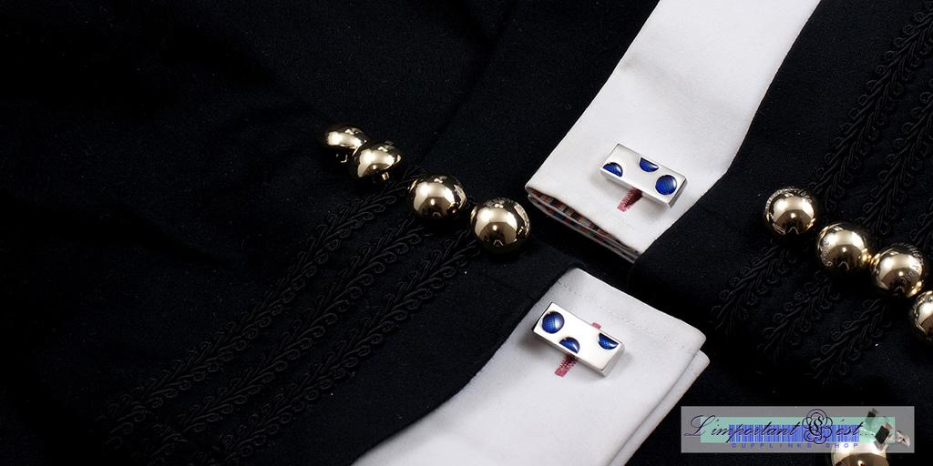 藍色圓點袖扣