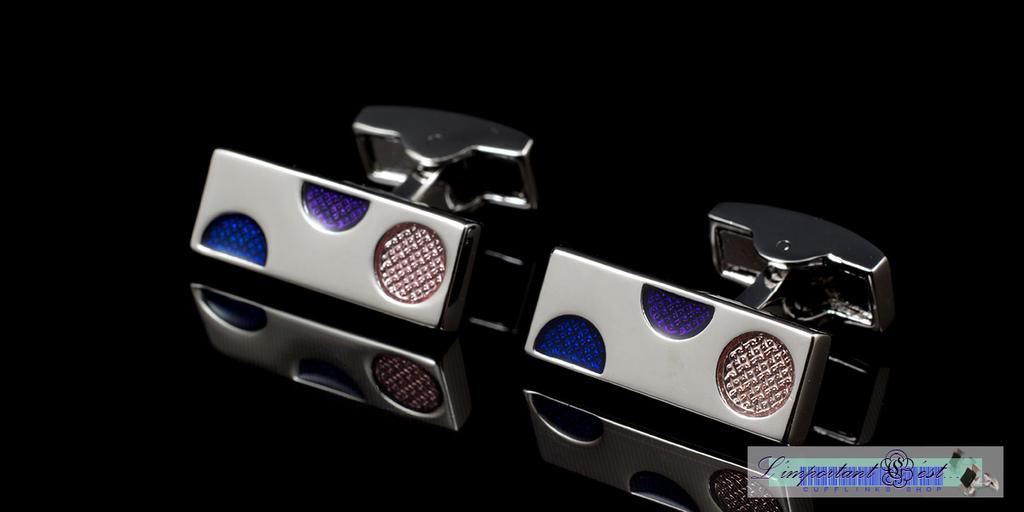 藍紫圓點袖扣