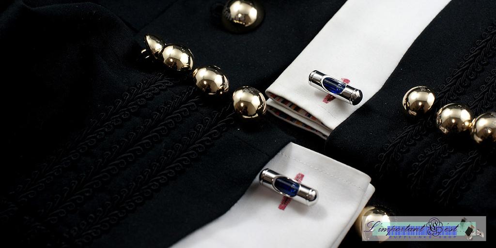 藍色水平儀袖扣