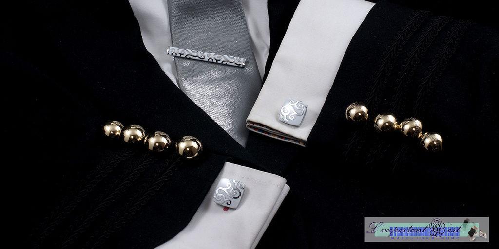 古文明圖騰白色袖扣領帶夾套組