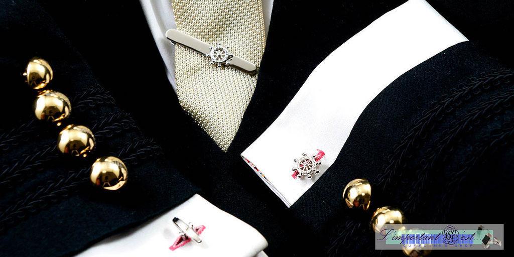 船舵造型袖扣領帶夾套組