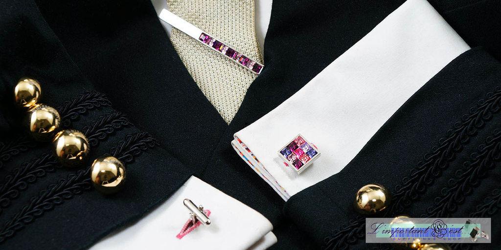 豔紫施華洛世奇水鑽袖扣
