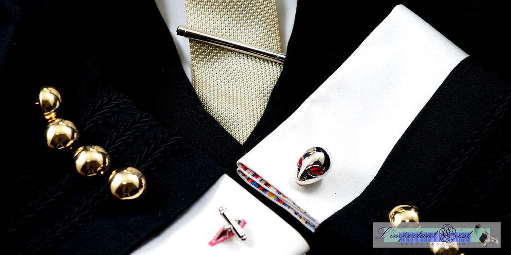 極品圓柱鑲鑽領帶夾