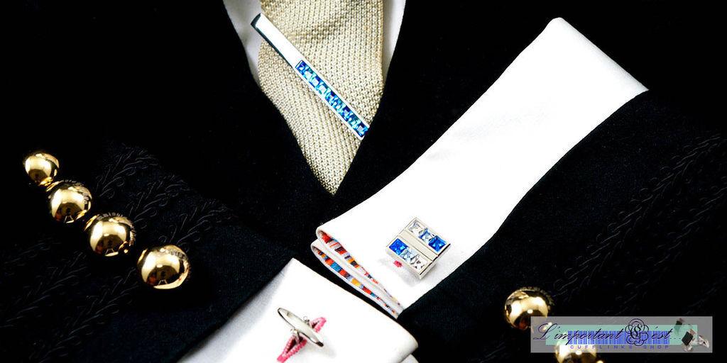 藍白施華洛世奇水鑽袖扣
