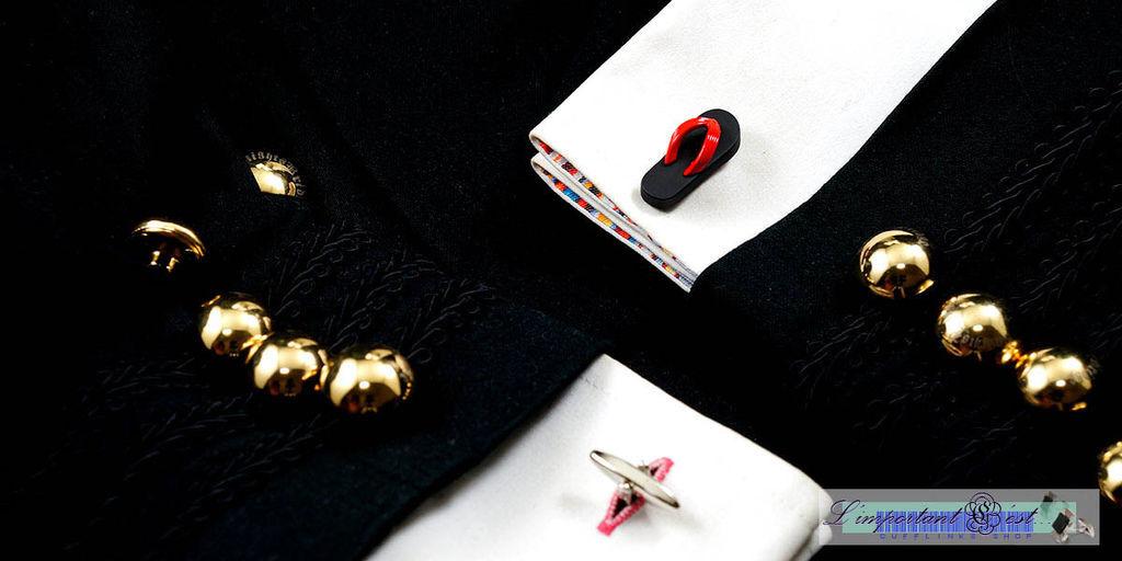 紅黑夾腳拖袖扣