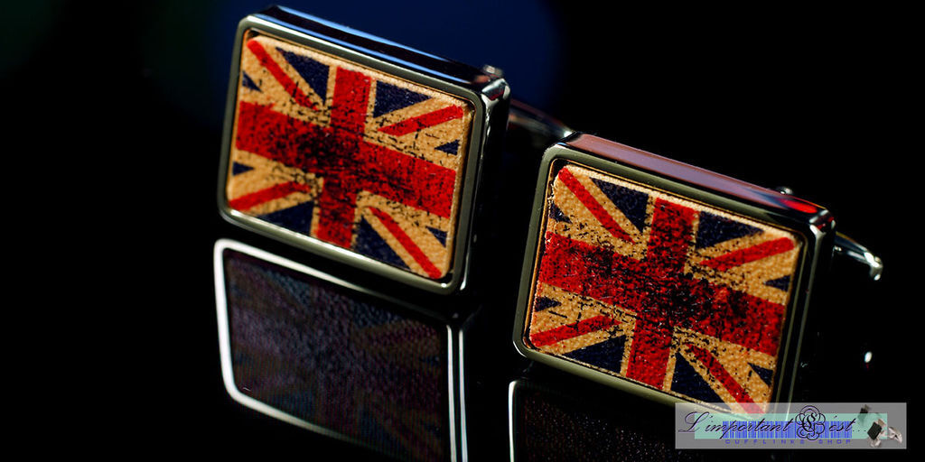 做舊風英國國旗袖扣