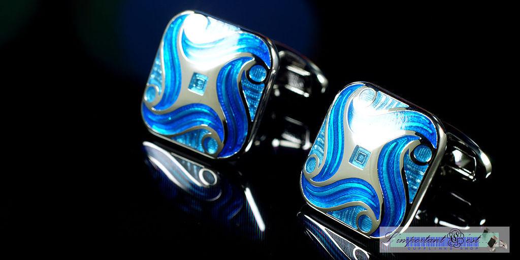 異域風情藍色琺瑯袖扣