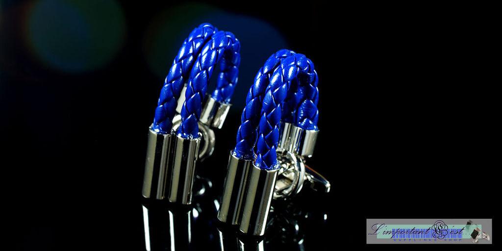 銀色雙柱藍色皮鏈袖扣