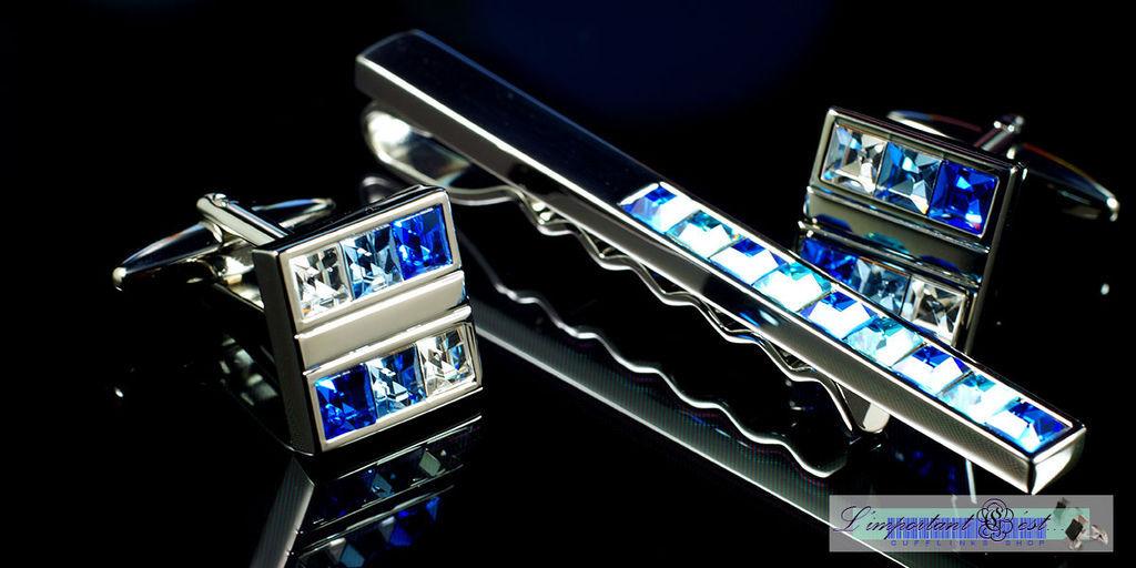 藍白施華洛世奇水鑽袖扣領帶夾套組