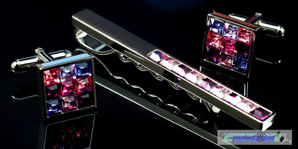 豔紫施華洛世奇水鑽袖扣領帶夾套組