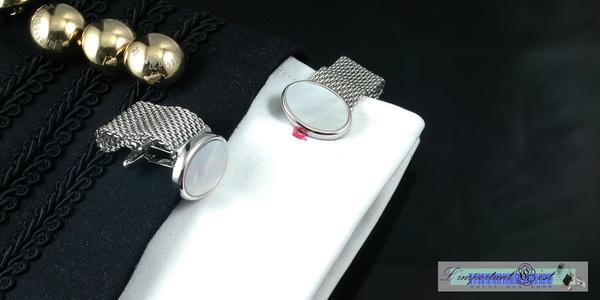 銀色寬鏈珍珠貝袖扣