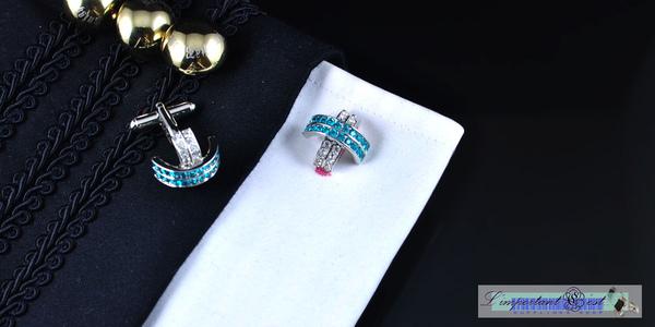 白綠水晶十字弧形袖扣