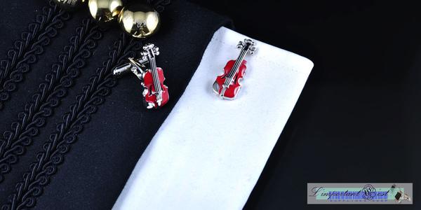 音樂精靈系列:紅色小提琴袖扣