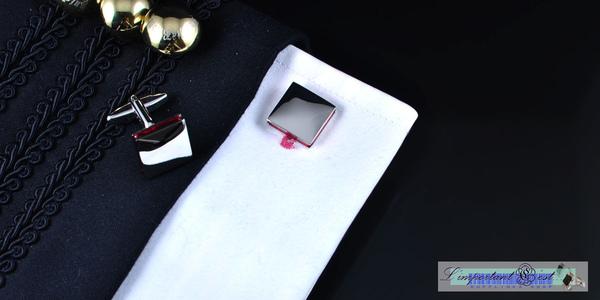 鏡面紅色鑲邊袖扣