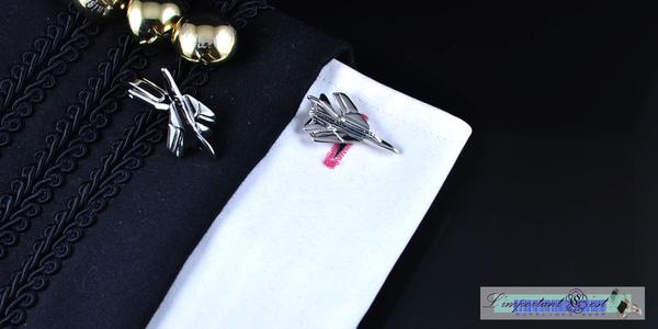米格戰機銀色造型袖扣
