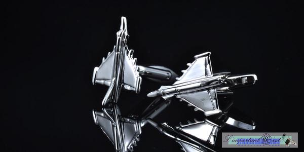 幻象2000戰鬥機銀色造型袖扣