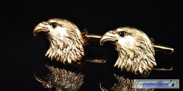 金鷹藍鑽鷹眼鍍18K金袖扣