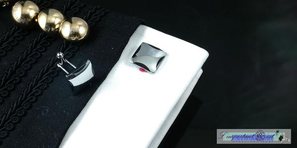 銀鏡弧面黑邊袖扣