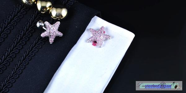 海星造型粉色爪鑲鋯石鍍鉑金袖扣
