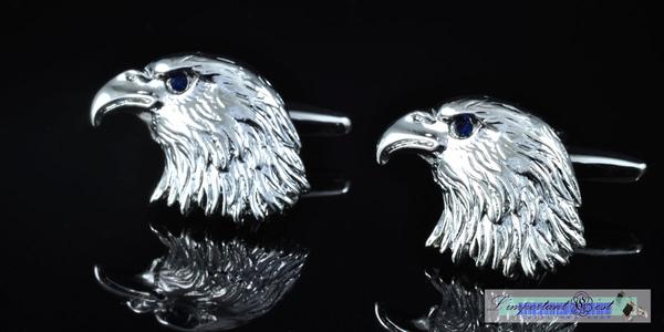 銀鷹藍鑽鷹眼鍍鉑金袖扣