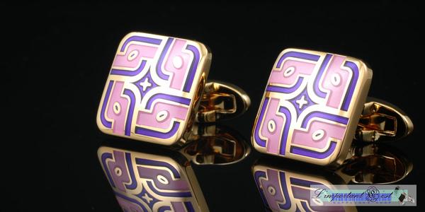 玫瑰莊園粉紫琺瑯鍍K金袖扣