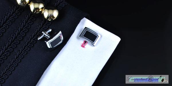 銀黑色長方形袖扣