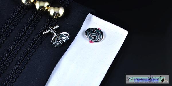 黑色唯美花紋 橢圓形袖扣