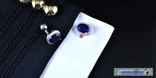 奢華爪鑲藍寶鋯石鍍鉑金袖扣