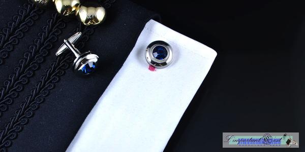 藍水晶鏡面黑邊圓型袖扣