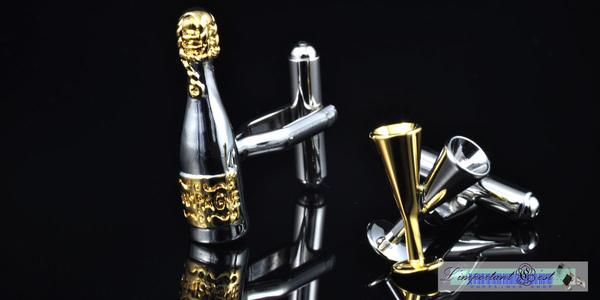 熱情派對 金銀色酒瓶&酒杯造型袖扣