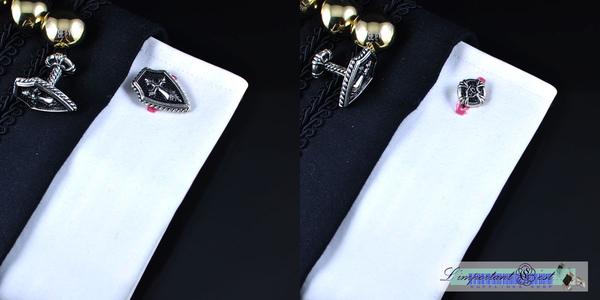 十字盾型純手工鍍鉑金袖扣
