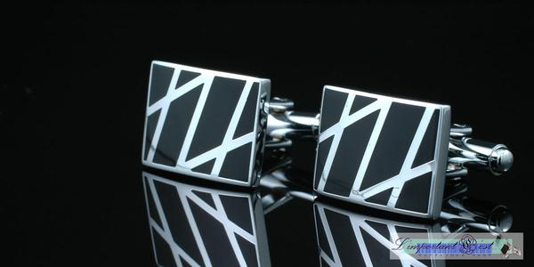 銀網黑色琺瑯袖扣