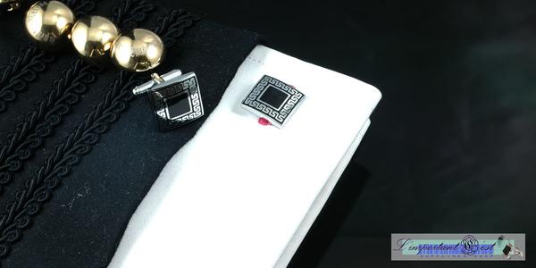 古典花紋方格袖扣