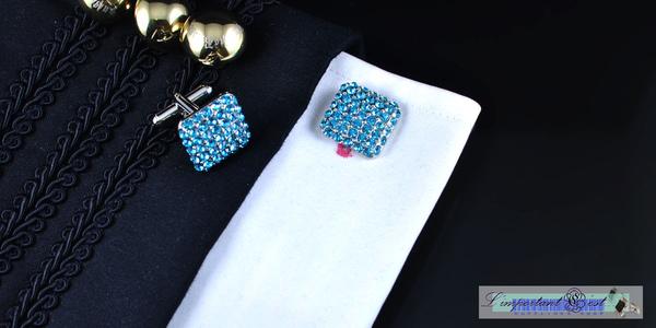 亮藍綠水晶鑲嵌造型袖扣