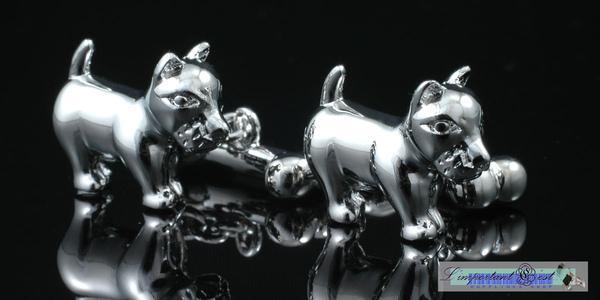 可愛狗&骨頭銀鏈袖扣