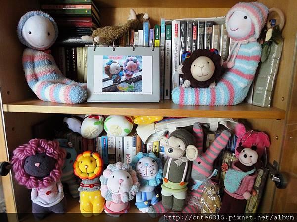 書架內的襪娃們.JPG
