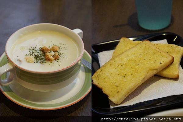 香蒜麵包+濃湯