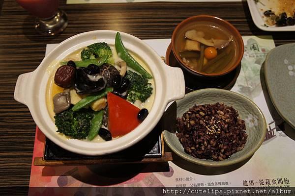 奶香八寶蔬、原盅燉湯&四寶飯