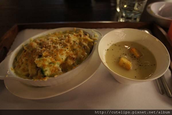 法式燻雞蛋黃焗烤麵