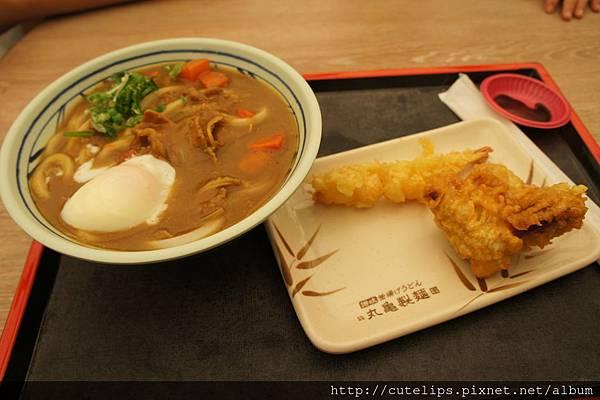 咖哩牛肉烏龍麵+炸物