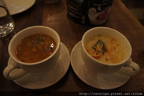 980元雙人套餐-義式番茄野菜培根湯&今日主廚湯