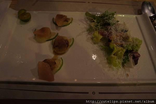 沙拉-香煎貝柱襯香桔沙拉