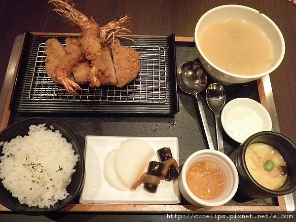 沙朗豬排+香酥炸蝦