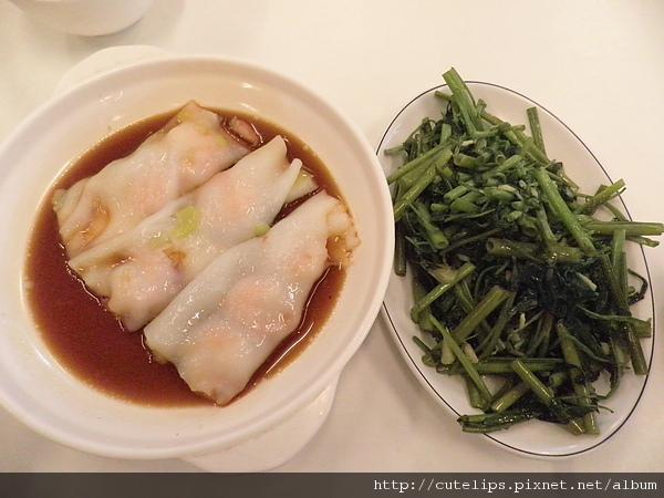 鮮蝦腸粉&空心菜