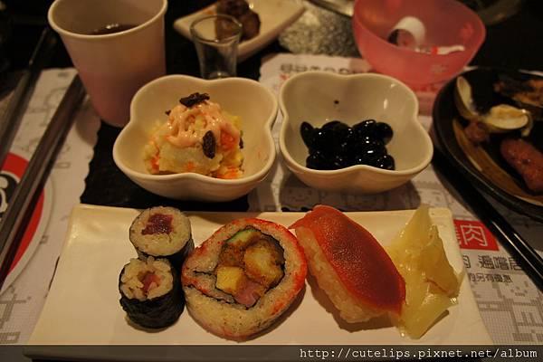 馬鈴薯沙拉、黑豆&壽司