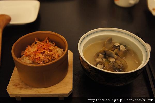 櫻花蝦蒸飯&蜆白味噌湯