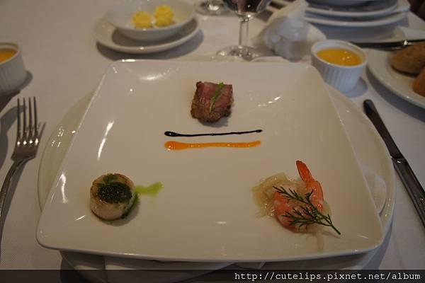 前菜~鴨胸肉、干貝、蝦子