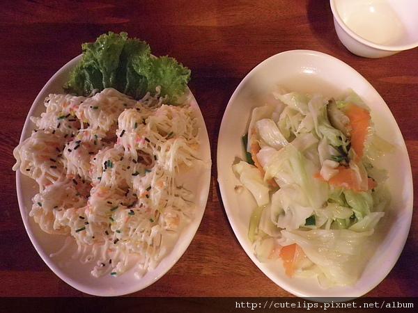 鳳梨蝦球&炒高麗菜